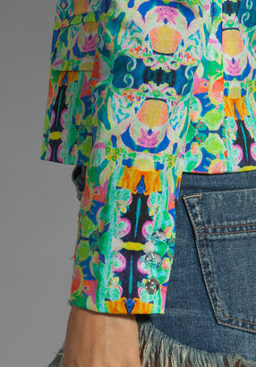 Milly Kaleidoscope Print on Stretch Cotton Sateen Skinny Jacket