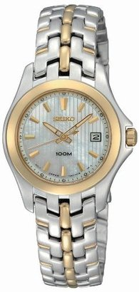 Seiko Women's SXDB88 Dress Two-Tone Solid Stainless-Steel Case and Bracelet White Mother-of-Pearl Dial Watch $325 thestylecure.com