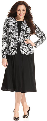 Jessica Howard Plus Size Floral-Print Sequin Dress and Jacket