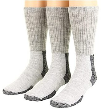 Thorlos Thick Cushion Hiking Wool Blend 3-Pack (Gray/Black) Crew Cut Socks Shoes