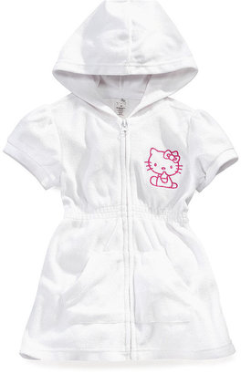 Hello Kitty Kids Cover-Up, Toddler Girls or Little Girls Terry Hoodie Zipper Dress
