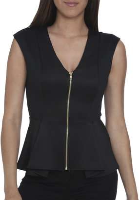 Arden B Colorblock Zip Peplum Top