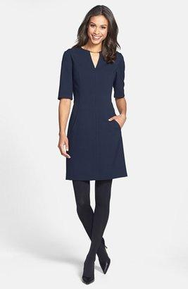 Tahari V-Neck Shift Dress (Regular & Petite) (Online Only)