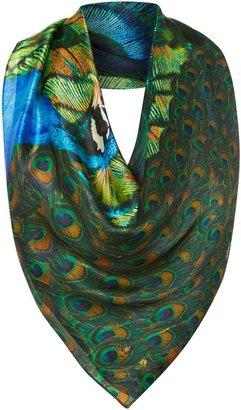 Biba Peacock reflection silk square scarf