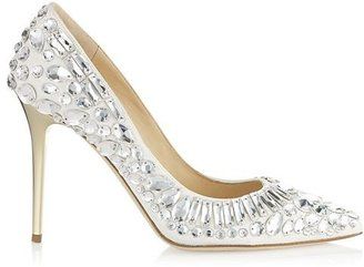 Jimmy Choo Trina Chalk Nappa Pointy Toe Pumps with Crystals