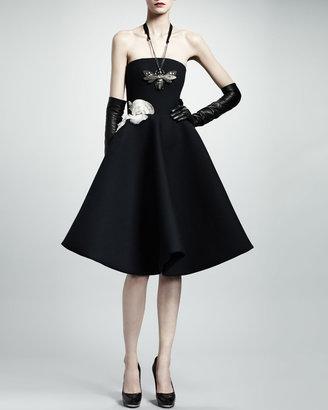 Lanvin Strapless Rose Applique Gabardine Dress, Black