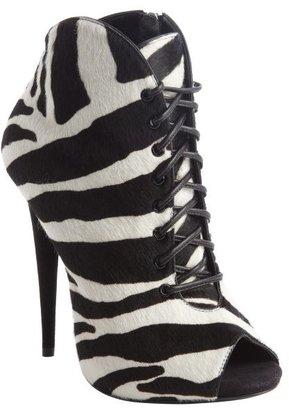 Giuseppe Zanotti black and white zebra print calf hair lace up peep toe booties