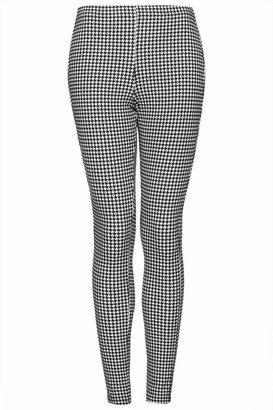 Topshop Dogtooth denim leggings. 70% cotton, 25% polyester, 5% elastane. machine washable.