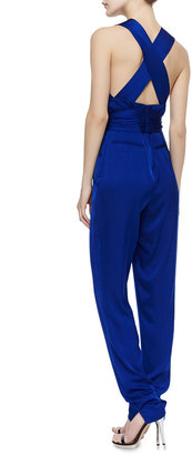 Catherine Malandrino Deep V-Neck Stretch-Silk Jumpsuit