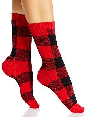 Ralph Lauren Polo Oversized Buffalo Check Boot Socks
