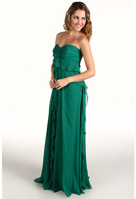 Badgley Mischka Strapless Ruffle Front Gown