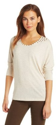 Chaus Women's 3/4 Sleeve Low Neck Studded Top