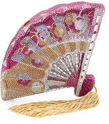 Judith Leiber Couture Fluttering Crystal Fan Minaudiere, Champagne/Fuchsia