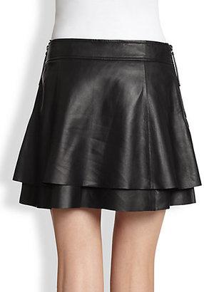 Rachel Zoe Venice Tiered Leather Mini Skirt