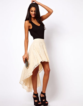 Asos Lace Insert Skirt with High Low Hem