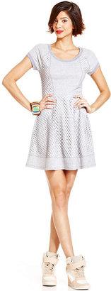 Monroe Marilyn Juniors Dress, Cap Sleeve Net A-Line