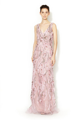 Carolina Herrera All Over Waved Embroidery Gown