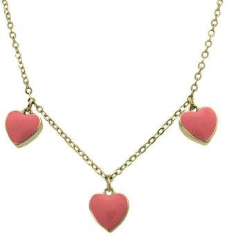Distributed By Target ELLEN 18k Gold Overlay Enamel Heart Dangle Necklace - Pink
