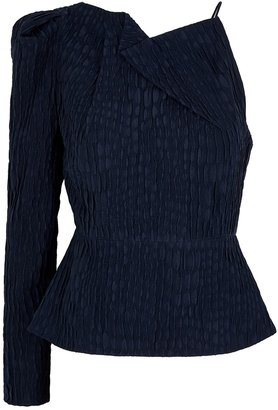 Roland Mouret Bryant Navy One-shoulder Silk Top