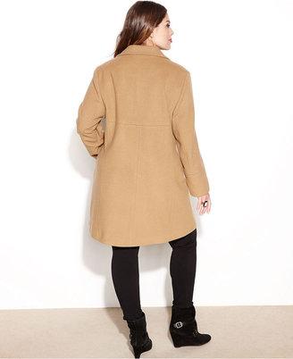 Larry Levine Plus Size Single-Breasted Wool-Blend Walker Coat