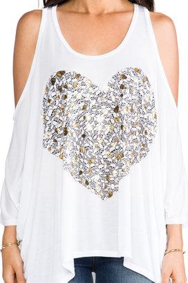 Lauren Moshi Macy Foil Mini Skull Heart Open Shoulder Tee