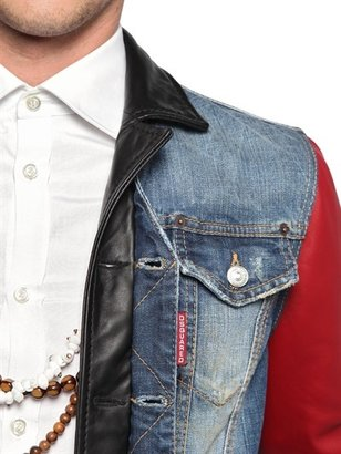 DSquared Stretch Cotton Denim & Leather Jacket
