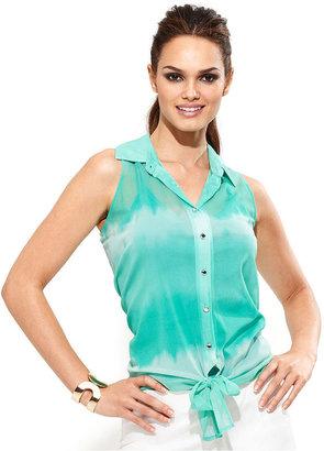 INC International Concepts Petite Top, Sleeveless Tie-Dye Shirt