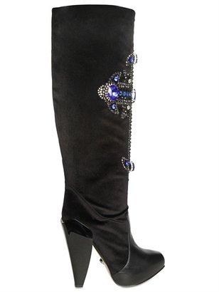 Versace 130mm Jewelled Cross Velvet Boots