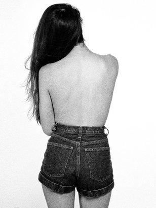 American Apparel Dark Wash High-Waist Jean Cuff Short