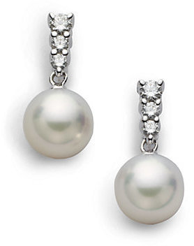 Mikimoto Morning Dew 8MM White Cultured Akoya Pearl, Diamond & 18K White Gold Drop Earrings