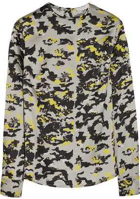 Michael Van Der Ham Camouflage-print textured-silk top