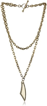 "Paige Novick Gotham"" Layered Chain and Ivory Enamel Pendant Necklace"