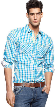 Ecko Unlimited Shirt, Long Sleeve Button Front Contrast Stripe Plaid Shirt