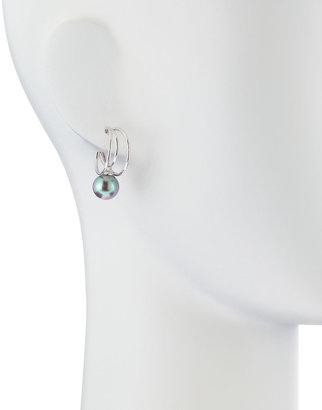 Majorica Gray Pearl Tri-Band Hoop Earrings