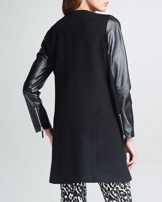 Milly Chloe Leather-Sleeve Coat