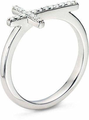 FINE JEWELRY 1/10 CT. T.W. Diamond Sterling Silver Mini Sideways Cross Ring