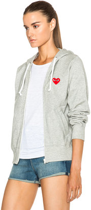 Comme des Garcons Zip Up Cotton Hoodie with Red Emblem