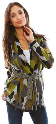 Torn By Ronny Kobo Charlotte Camouflage Cardigan in Green