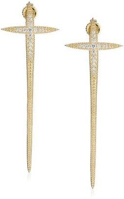 Mizuki 14k Gold Long Curved Diamond Icicle Cross Post Earrings