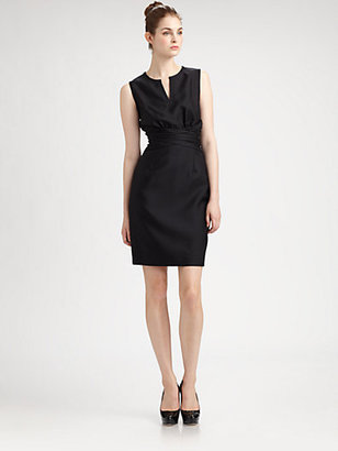 Pink Tartan Ruched-Waist Fitted Dress
