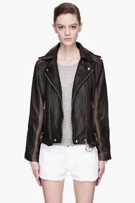 IRO Black and olive green quilted lamb leather biker jacket