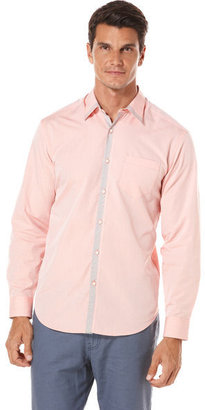 Cubavera Long Sleeve Contrast Placket Shirt
