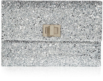 Anya Hindmarch Silver Valorie Clutch with Enameled Fastener