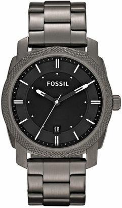 Fossil Men Machine Gray Tone Stainless Steel Bracelet Watch 42mm FS4774