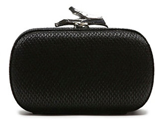 Lytton Small Raffia Clutch In Black