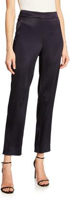 St. John Liquid Satin Side Zip Cropped Pants