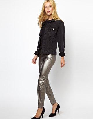 Blank NYC Leather Look Leggings - Grey