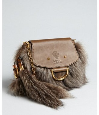 Gucci brown natural raccoon fur 'Smilla' shoulder bag