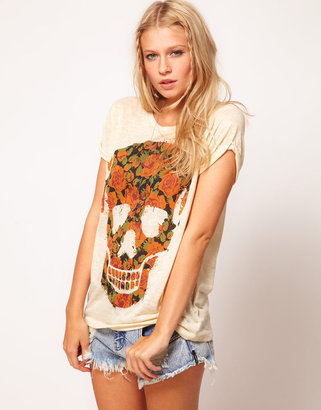Asos T-Shirt with Floral Skull in Burnout