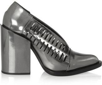 Jil Sander Cutout mirrored-leather pumps